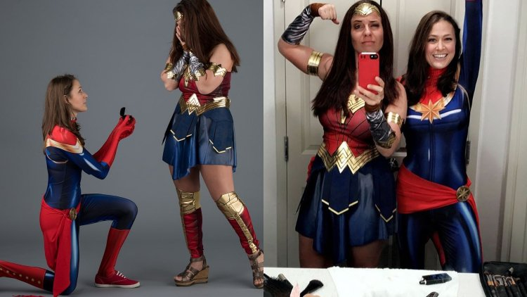 Captain Marvel Wonder Woman Are Getting Married Irl A professional seamstress and a wig maker, jedimanda (yes, she loves star wars) — is obsessed with captain marvel and recently made the costume herself. captain marvel wonder woman are