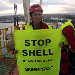 Eco-Warrior Lucy Lawless Boards Ship in Action Against Shell's Arctic Drilling