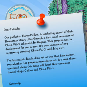 Berenstain Bears Books Replace Henson Co. Toys in Chick-fil-A Kids Meals: Family Disapproves