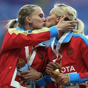 Female Russian Athletes Kiss in Moscow - Sportsmanship or Pro-Gay Propaganda?