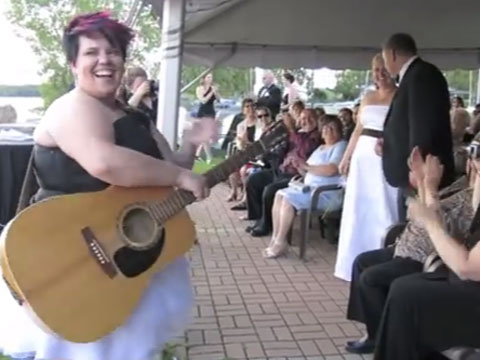 WATCH: It's Freezing - Who's in the Mood for a Lesbian Wedding Flashmob with a Singing Bride?