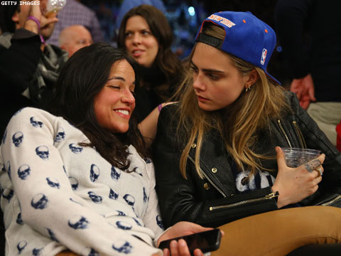 Michelle Rodriguez and Victoria's Secret Model Cara Delevingne Engage in Major PDA at Knicks Game