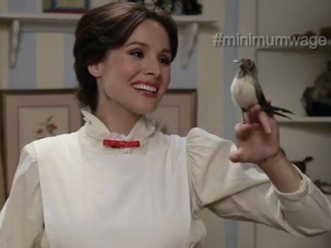 WATCH: Kristen Bell's Spot-on Mary Poppins Stumps for Minimum Wage Increase in Funny or Die Video