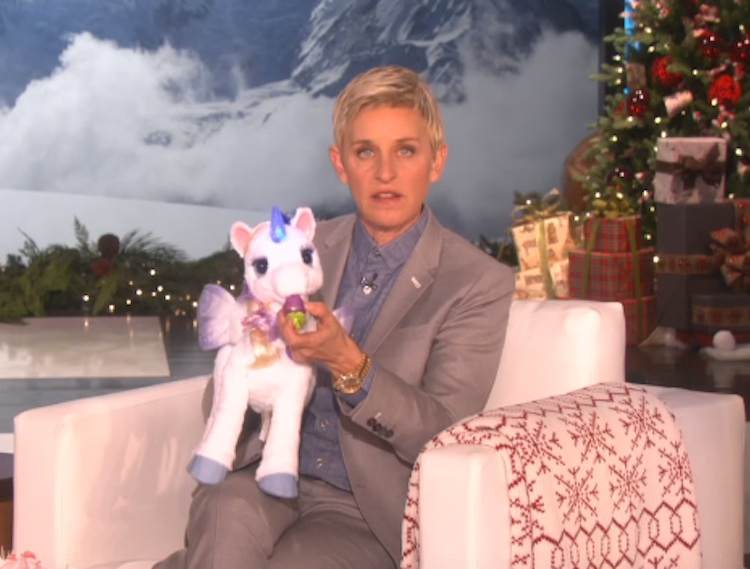 WATCH: Ellen Faces Off Against a Sparkly Unicorn in this Hilarious New Clip