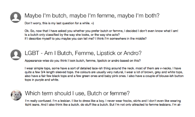 A screenshot of people posting on Yahoo! Answers and asking if they're femme or butch.