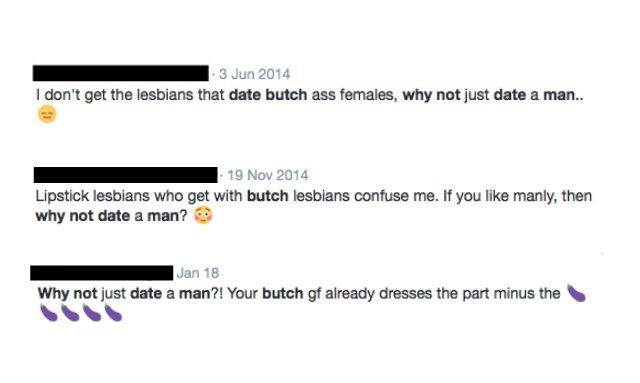 A screenshot of Tweets with people asking why lesbians who like butch women don't just date lesbians.