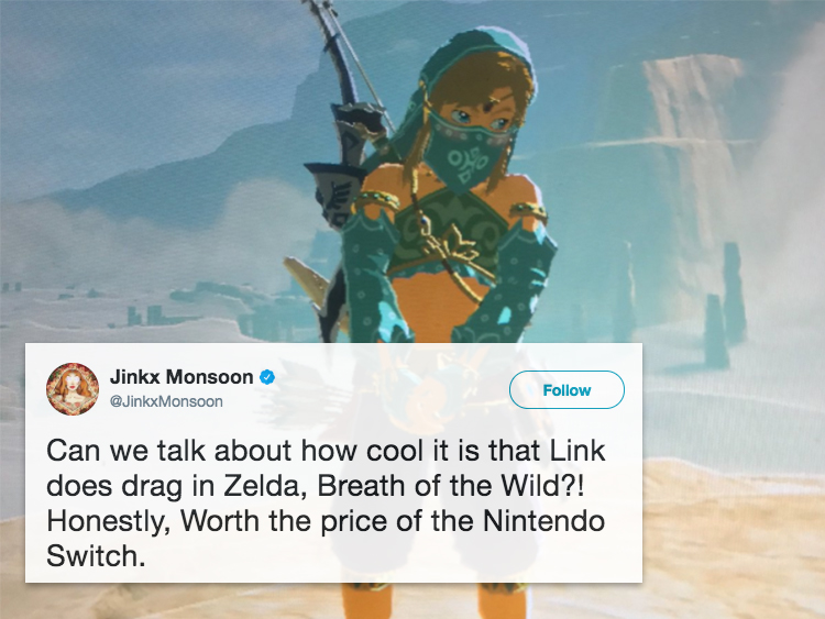 link does drag in the latest zelda game and people are losing it