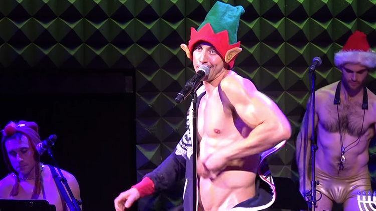 nick-adams-shirtless-on-stage-lonely-christmas-elf