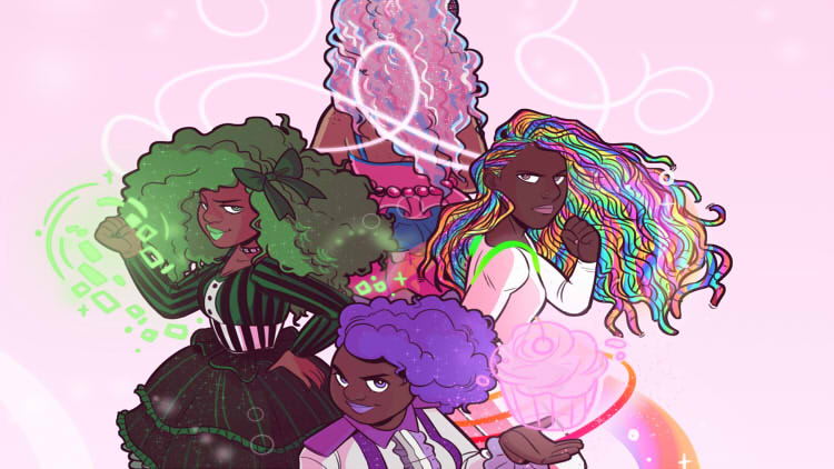 4 colorful black magical girls