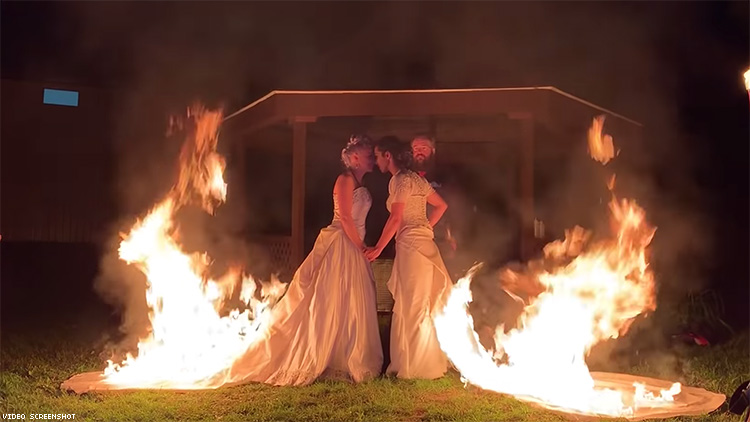 Lesbian Brides Set Gowns on Fire During Ceremony