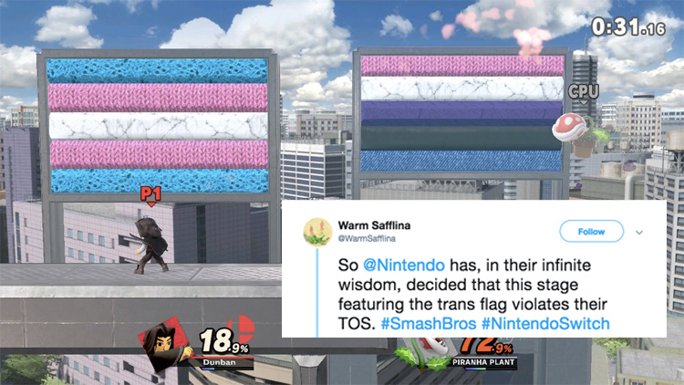 Nintendo Suspended Gamer for Customizing Stage With Trans Flag