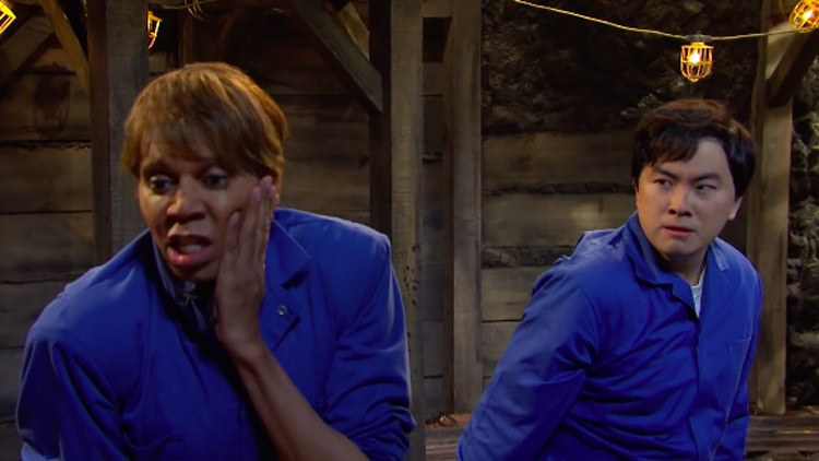 RuPaul Pays Homage to 'Dynasty' on 'SNL' in Coal Mining Catfight Skit